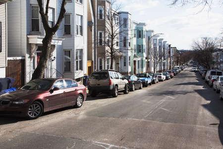 rij huizen: Row houses, South Boston, Massachusetts, USA