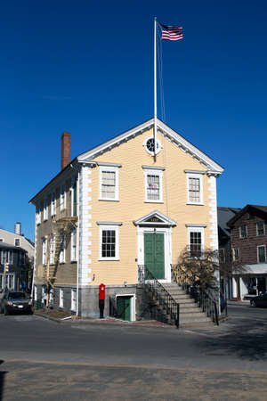 old town hall: Historic Old Town Hall House, constructed 1727, Marblehead, Massachusetts, USA Stock Photo