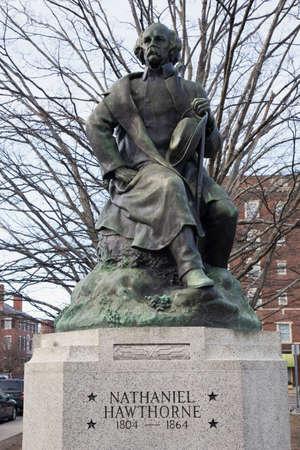 male likeness: Statue of Nataniel Hawthorne, Salem, Massachusetts, USA