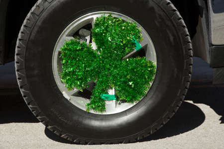 cloverleaf: Cloverleaf on truck, St. Patricks Day Parade, 2014, South Boston, Massachusetts, USA