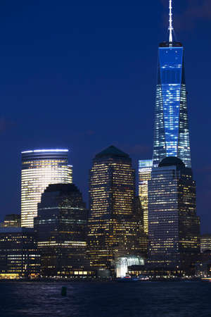 freedom tower: View of New York City Skyline at dusk featuring One World Trade Center 1WTC, Freedom Tower, New York City, New York, USA