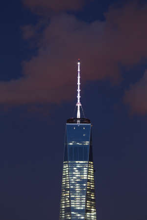 freedom tower: One World Trade Center 1WTC, Freedom Tower and clouds, New York City Skyline at dusk, New York City, New York, USA Stock Photo
