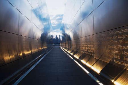 western script: Empty Sky: Jersey City 911 Memorial at dusk, New Jersey, USA