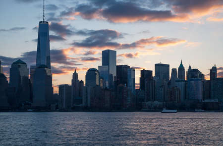 freedom tower: Sunrise on One World Trade Center 1WTC, Freedom Tower, New York City skyline, New York City, New York, USA Stock Photo