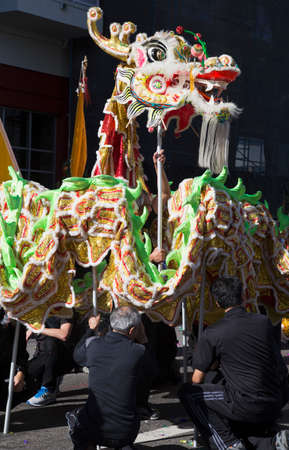 dragon vertical: 115th Golden Dragon Parade, Chinese New Year, 2014, Year of the Horse, Los Angeles, California, USA