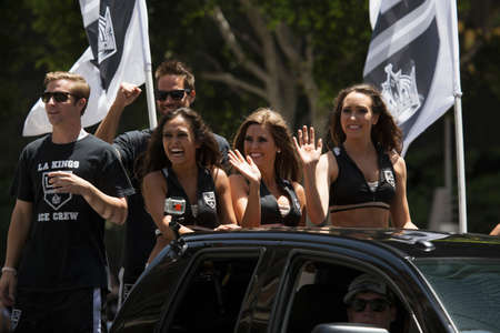 stanley: Cheerleaders at LA Kings 2014 Stanley Cup Victory Parade, Los Angeles, California, USA Editorial