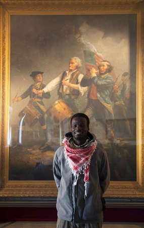 abbot: African visits Abbot Hall to see Spirit of 76 Painting by Archibald Willard