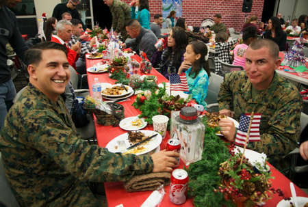 concentration camp: Christmas dinner for US Soldiers at Wounded Warrior Center, Camp Pendleton, North of San Diego, California, USA Editorial