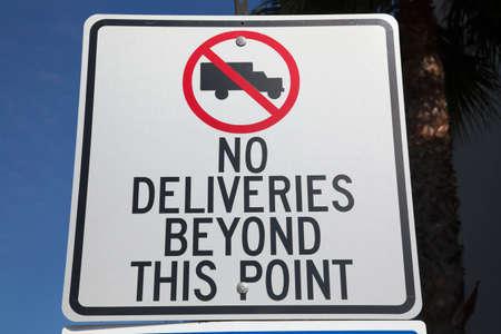 western script: No Deliveries road sign, Ventura, California, USA