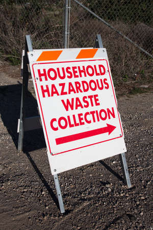 hazardous waste: Sign directing to Household Hazardous Waste Collection