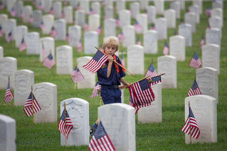 only one teenage boy: Cubscout places one of 85, 000 US Flags at 2014 Memorial Day Event, Los Angeles National Cemetery, California, USA