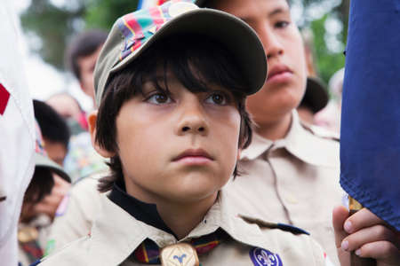 only one teenage boy: Boyscout face at 2014 Memorial Day Event, Los Angeles National Cemetery, California, USA Editorial