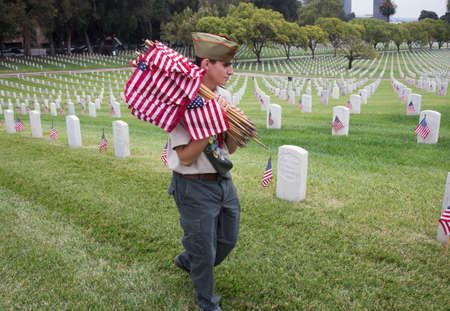 Boyscout placing 85, 000 US Flags at Annual Memorial Day Event, Los Angeles National Cemetery, California, USA Editorial
