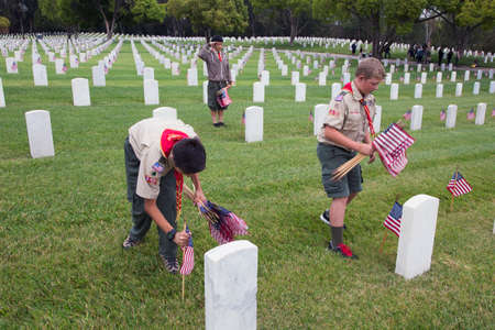 Boyscouts placing 85, 000 US Flags at Annual Memorial Day Event, Los Angeles National Cemetery, California, USA