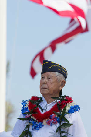 lt: Ret. Lt. Yoshito Fujimoto and US Flag, Los Angeles National Cemetery Annual Memorial Event, May 26, 2014, California, USA