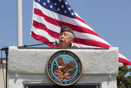 lt: Ret. Lt. Yoshito Fujimoto speaking at Los Angeles National Cemetery Annual Memorial Event, May 26, 2014, California, USA Editorial