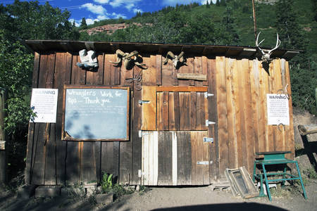 ouray: Western building at Bachelor, Box Canyon Mine Tour, Ouray, Colorado, USA