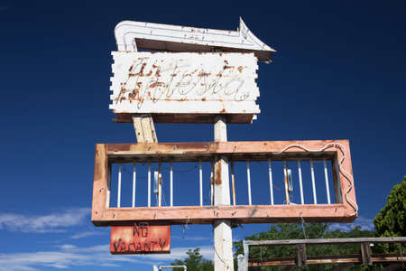 Deserted Motel Sign, Americana, Colorado, USA Stock Photo