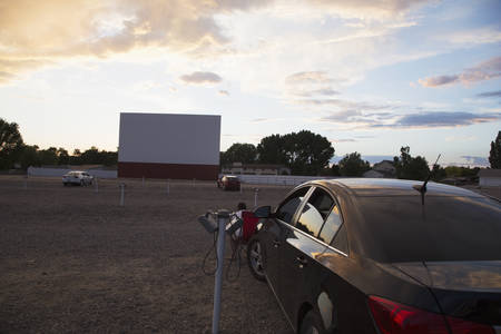 screen: Empty movie screen at sunset, Star Drive In Movie Theater, Montrose, Colorado, USA