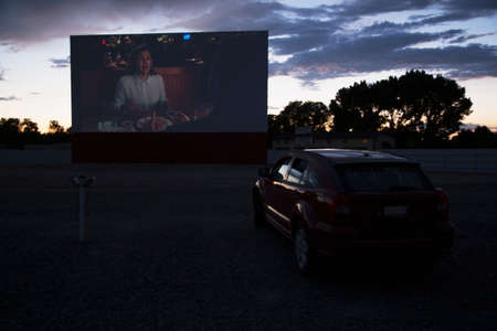 Views in car watch movie Star Drive In Movie Theater, Montrose, Colorado, USA