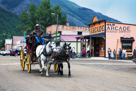 working animal: Covered wagon and horses, Silverton, Colorado, USA
