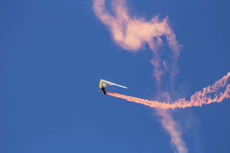 hang glider: Hang glider during opening ceremony, July 4, Independence Day Parade, Telluride, Colorado, USA