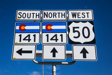 western script: Route 141 and Route 50, south of Grand Junction, Colorado, USA Stock Photo