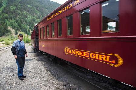 narrow gauge railroad: Crew on Durango and Silverton Narrow Gauge Railroad, Silverton, Colorado, USA