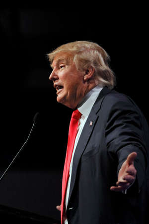 LAS VEGAS NEVADA, DECEMBER 14, 2015: Republican presidential candidate Donald Trump speaks at campaign event at Westgate Las Vegas Resort & Casino the day before the CNN Republican Presidential Debate Éditoriale