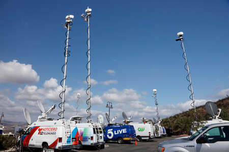 sattelite: REAGAN PRESIDENTIAL LIBRARY, SIMI VALLEY, LA, CA - SEPTEMBER 16, 2015, satellite dishes and TV broadcast vans for Republican Presidential Debate.