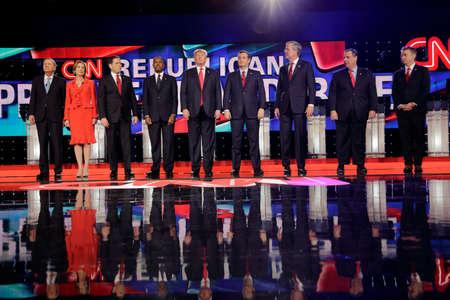 sen: LAS VEGAS, NV - DECEMBER 15: Republican presidential candidates (L-R) John Kasich, Carly Fiorina, Sen. Marco Rubio, Ben Carson, Donald Trump, Sen. Ted Cruz, Jeb Bush, Chris Christi and Rand Paul Editorial