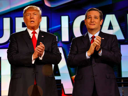 ted: LAS VEGAS, NV - DECEMBER 15: Republican presidential candidates US Senator Ted Cruz and Donald J. Trump clap at CNN republican presidential debate at The Venetian, December 15, 2015, Las Vegas, Nevada