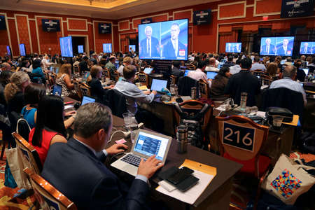 election debate: LAS VEGAS, NV - OCTOBER 13: Democratic presidential debate press filing room where media filing news stories for 2016 Presidential Election, Wynn, Las Vegas, NV