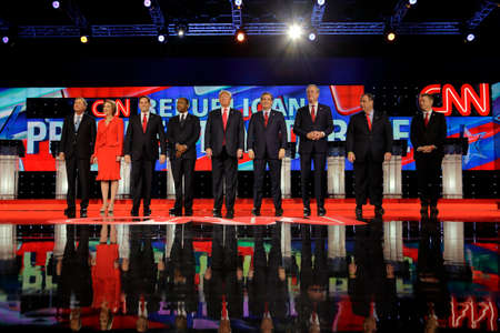 ted: LAS VEGAS, NV - DECEMBER 15: Republican presidential candidates (L-R) John Kasich, Carly Fiorina, Sen. Marco Rubio, Ben Carson, Donald Trump, Sen. Ted Cruz, Jeb Bush, Chris Christi and Rand Paul Editorial