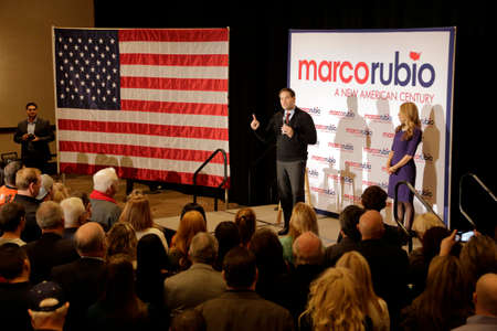 senator: LAS VEGAS, NV - DECEMBER 14: Republican Presidential candidate Florida Senator Marco Rubio with his wife Jeanette Rubio, speaks during a campaign rally at the Renaissance Las Vegas on December 14, 2015 in Las Vegas, Nevada. Editorial