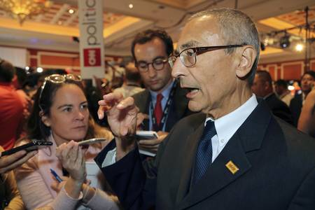interviewed: LAS VEGAS, NV - OCTOBER 13: Democratic presidential debates, Clinton chairman John Podesta interviewed in the spin rooom after the presidential debate at the Wynn