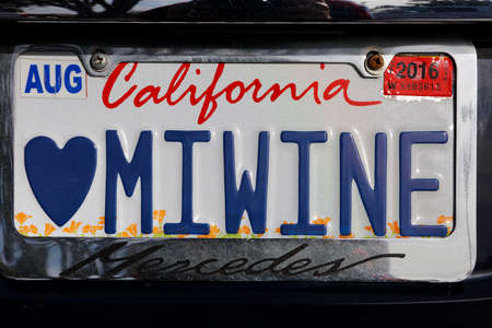license plate: Miwine - California vanity custom license plate for California wine lover Editorial