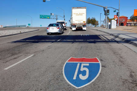 barstow: Interstate 15 Road Sign painted on road near Barstow, CA