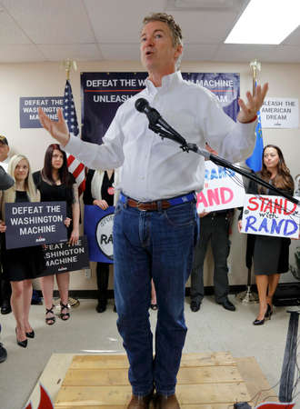 rand: LAS VEGAS, NV, DEC 15, 201Presidential Candidate Rand Paul Campaigns at Las Vegas Rand Paul Election Office the day before CNN Republican Debate.
