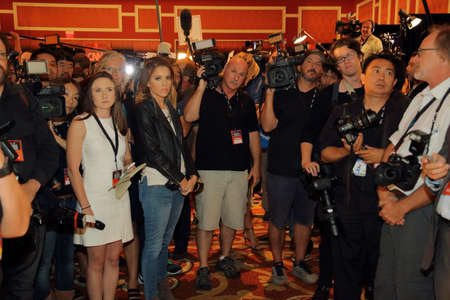election debate: LAS VEGAS, NV - OCTOBER 13: Democratic presidential debate spin room where photographers and videographers are waiting to interview candidates, 2016 Presidential Election