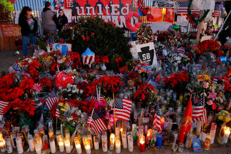 irc: SAN BERNARDINO, CA. DECEMBER 17, 2015, A makeshift memorial at the Inland Regional Center (IRC) in San Bernardino, CA. San Bernardino shooting aftermath in San Bernardino, CA.