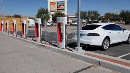 electric current: Tesla recharging station off Interstate 15 on route to Las Vegas, NV