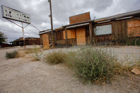 barstow: Deserted building in desert between Las Vegas and Barstow off Interstate 15, CA