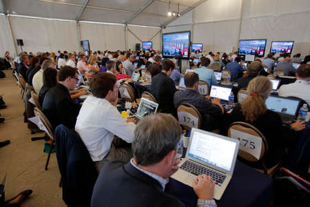 ronald reagan: tREAGAN PRESIDENTIAL LIBRARY, SIMI VALLEY, LA, CA - SEPTEMBER 16, 2015, Media filing room during the Republican presidential debate at the Ronald Reagan Presidential Library in Simi Valley, California, U.S.