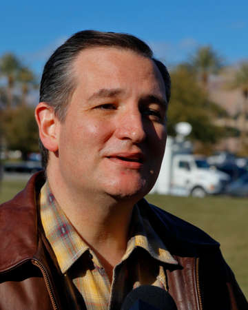 ted: LAS VEGAS, NEVADA, DECEMBER 17, 2015: Closeup profile of Republican Presidential candidate Sen. Ted Cruz, R-Texas, interviewed at Presidential rally at Siena Community Ballroom, Las Vegas, NV