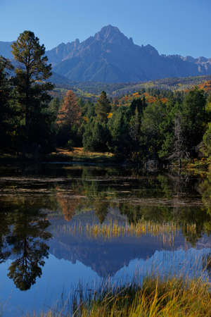 ouray: Mountain pond in San Juan Mountains In Autumn Colorado, near Telluride, Ouray and Ridgway in San Miguel County