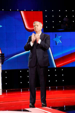 lindsay: LAS VEGAS, NV, Dec 15, 2015, South Carolina Senator Lindsay Graham claps at CNN Republican presidential debate at The Venetian Resort and Casino, Las Vegas, NV Editorial