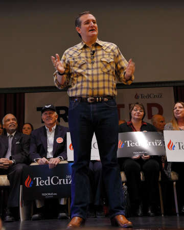LAS VEGAS, NEVADA, DECEMBER 17, 2015: Republican Presidential candidate Sen. Ted Cruz, R-Texas, speaks, points and waves during Presidential Nevada rally at Siena Community Ballroom, Las Vegas, NV