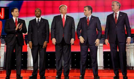 election: LAS VEGAS, NV - DECEMBER 15: Republican presidential candidates (L-R) Marco Rubio, Ben Carson, Donald Trump, Sen. Ted Cruz, Jeb Bush