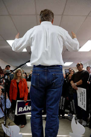 LAS VEGAS, NV, DEC 15, 2015, backside of Presidential Candidate Rand Paul as he Campaigns at Las Vegas Rand Paul Election Office the day before CNN Republican Debate. Editorial